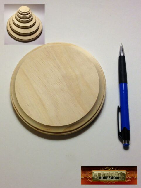 "M00687 MOREZMORE 1 Unfinished 6/"" Round Wood Base Wooden Plaque Stand"