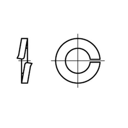 10 Stück Federring aufgebogen DIN 127 Federstahl galvanisch verzinkt Form A 4 mm