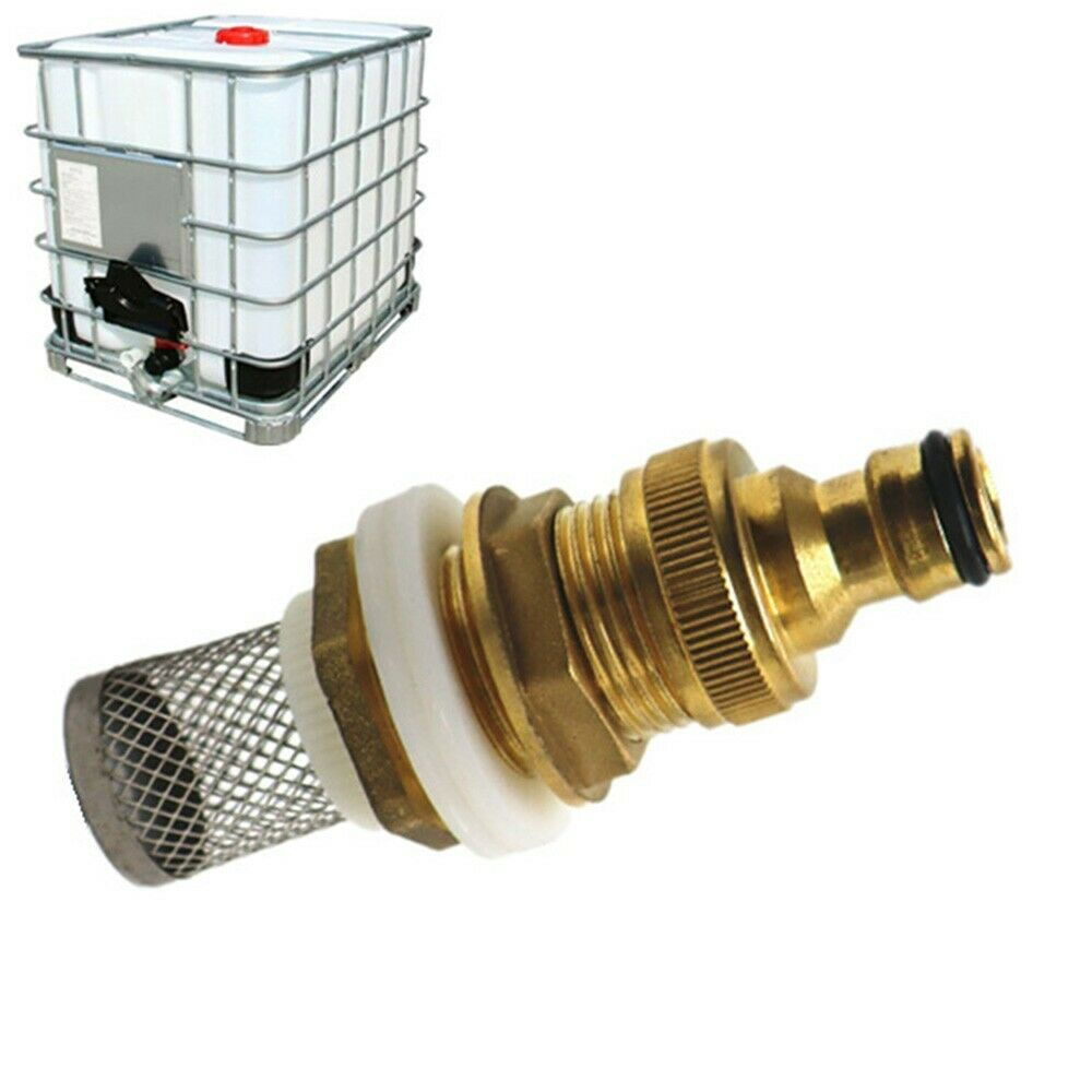 1*IBC Water Tank Rain Barrel Brass Adapter Connector 3/4 With Filter Overflow