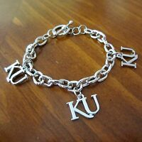 University Of Kansas Ku Silver Toggle Charm Bracelet Jayhawks Game Fan Jewelry