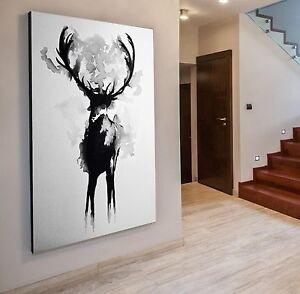 xxl bild 142x96x5 neu leinwand hirsch schwarz weiss. Black Bedroom Furniture Sets. Home Design Ideas