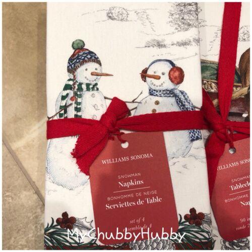NWT Williams-Sonoma S//4 ~SNOWMAN~ Cotton DINNER NAPKINS ~CHRISTMAS~ ☃️