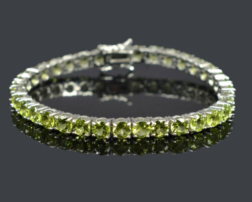 Details about  /5 mm Round Cut Natural Peridot Gemstone 925 Sterling Silver Tennis Bracelet
