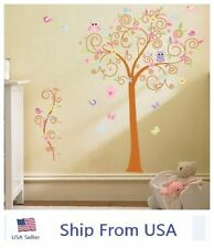 Large Owl Scroll Bird Flower Tree Wall Sticker Removable DIY Art Decal Decor US