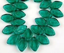 25 PCS Czech Leaf Emerald Green Pressed Loose Glass Beads Jewelry Craft 7x12mm