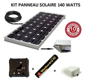 kit panneau solaire 140 watts 12v monocristallin pour. Black Bedroom Furniture Sets. Home Design Ideas