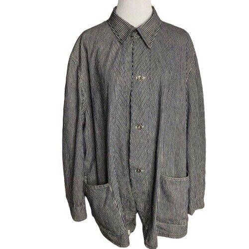 Vtg Denim Chore Coat Hickory Stripe Workwear Jacke