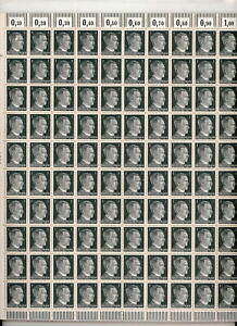 Stamp-Germany-Mi-781-Sc-506-Sheet-1941-WWII-3rd-Reich-Era-Hitler-Head-War-MNH