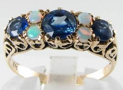 DIVINE 9K GOLD VINTAGE INS BLUE SAPPHIRE- AUS OPAL RING