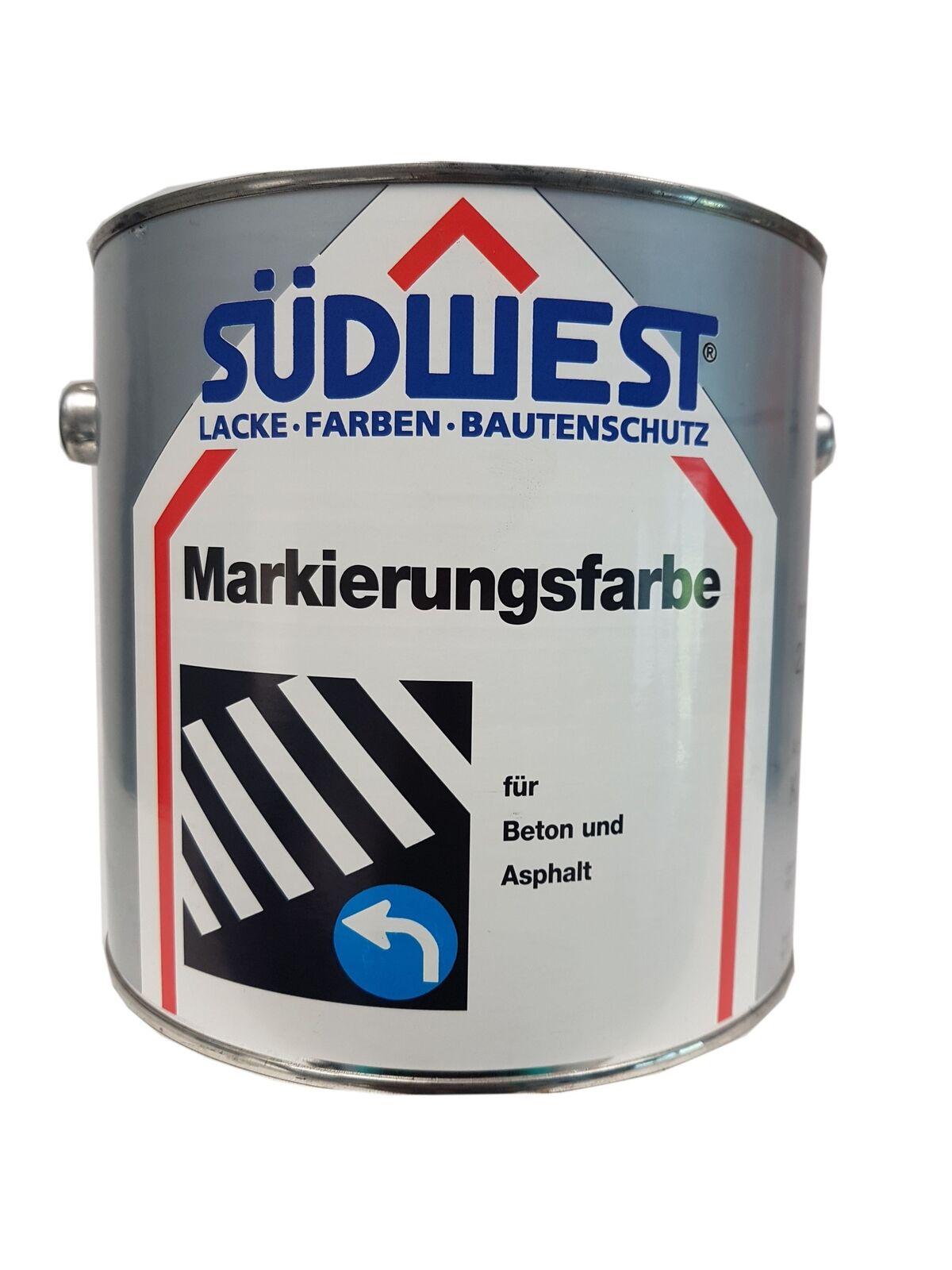 SÜDWEST Markierungsfarbe K 26 für Beton und Asphalt  Matt  Farbton wählbar 2,5 L