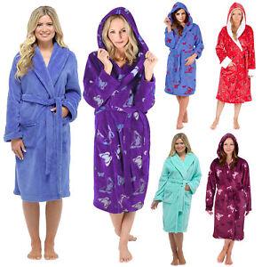 Détails sur Femmes à Capuche Robe de Chambre Polaire Bain Peignoir Souple Taille 8 22 Neuf