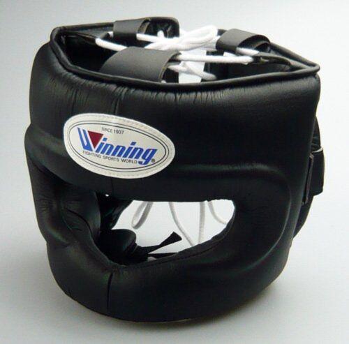 New Winning Boxing Headgear FG-5000 Size L Full Face Type Black Fast Shipping