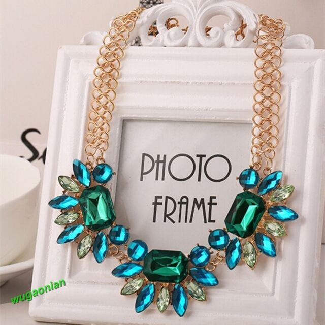 Gold Plated Resin Gems Collar Bib Statement Necklace Chain Pendant Gift