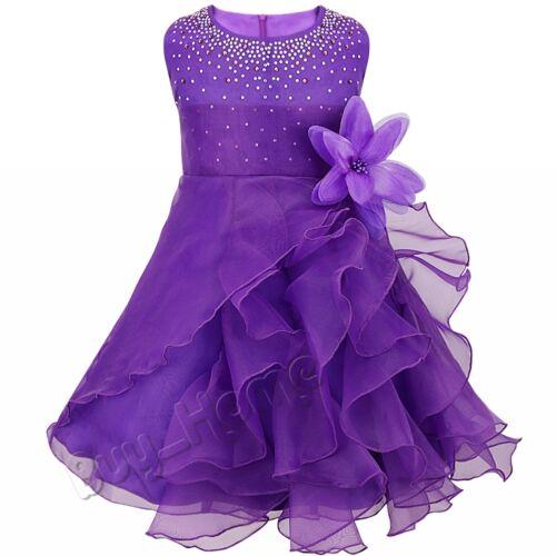 Kids Organza Tutu Dress Princess Bridesmaid Flower Girls Skirt Wedding Party