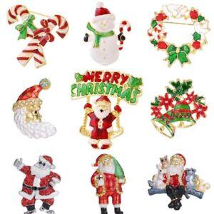 NEW Christmas Santa Snowman Brooch Pin Corsage Xmas Jewelry Gift For Women Men