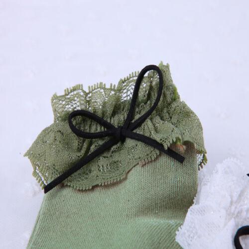 Damen Retro nette Spitze-Rüsche Rüschen Söckchen Baumwollsocken Gestreifte Neu