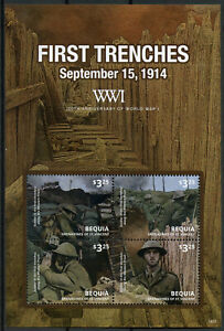Bequia-Grenadines-St-Vincent-2014-MNH-WWI-WW1-100th-First-Trenches-4v-M-S-Stamps