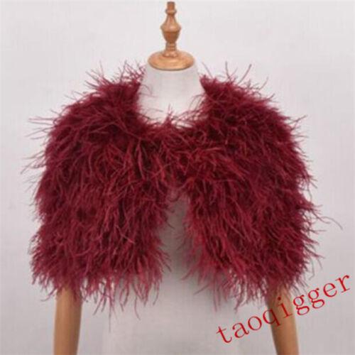 New Women Ivory real hairy Ostrich Feather furry Fur coat jacket bolero bridal
