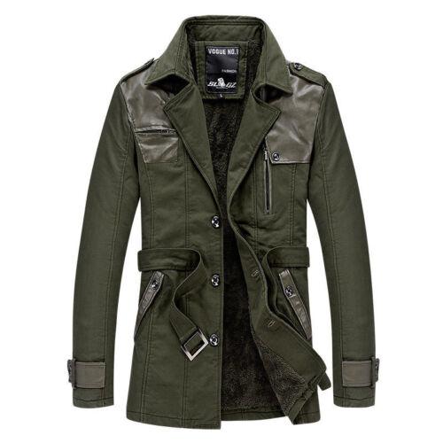 Men/'s long stitching leather windbreaker jacket parkas trench coat belt casual