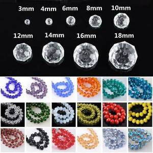 3mm//4mm//6mm//8mm//10mm Rondelle Faceted Crystal Glass Spacer Loose Beads DIY Craft