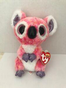 477f619aa59 Ty Beanie Boos KACEY Pink Koala Bear Glitter Eyes Purple White Plush ...