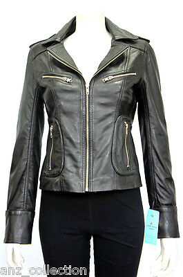Candice Black Ladies Woman Biker Style Designer Real Real Sheep Leather Jacket