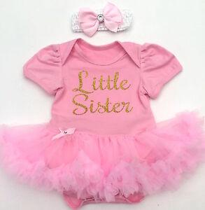 Mädchen Ehrlichkeit Kleiner Schwester Baby Mädchen Rosa Tutu Strampler Gold Glitzer Neugeborenes Baby