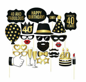 Details About New 26PCS DIY 30th 40th 50th Birthday Party Masks Favor Photo Booth Props