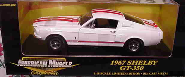 1967 Shelby Shelby Shelby Mustang GT350 White Red 1 18 Ertl American Muscle 29259 68be12