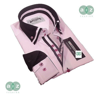 Brand New Mens Formal, Smart Pink and Black Double Collar Italian Slim Fit Shirt