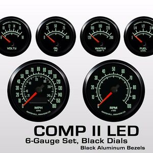 C2-60s-Muscle-6-Gauge-Set-Black-Bezels-0-90-Ohm-Fuel-Level-2964BLK