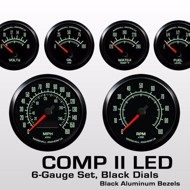 C2 60s Muscle 6 Gauge Set, Black Bezels, 0-30 Ohm Fuel Level, 2962BLK