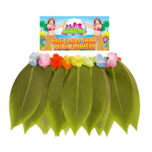 Ladies Hawaiian Hula Girl Grass Leaf Skirt Fancy Dress Beach Costume Outfit