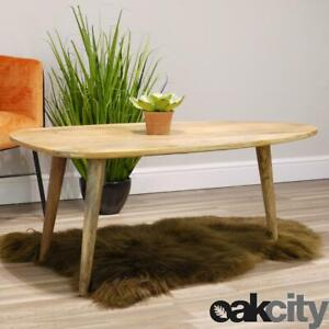 Details About Aztec Solid Mango Wood Coffee Table Side Table With Curved Edges