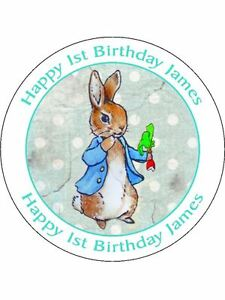 30-90-PRE-CUT-EDIBLE-WAFER-CUP-CAKE-TOPPERS-VINTAGE-PETER-RABBIT-PERSONALISED