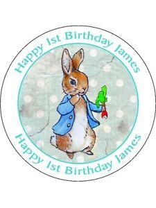 30-90-pre-tagliati-WAFER-COMMESTIBILE-CUP-cake-topper-Vintage-Peter-Rabbit-personalizzata