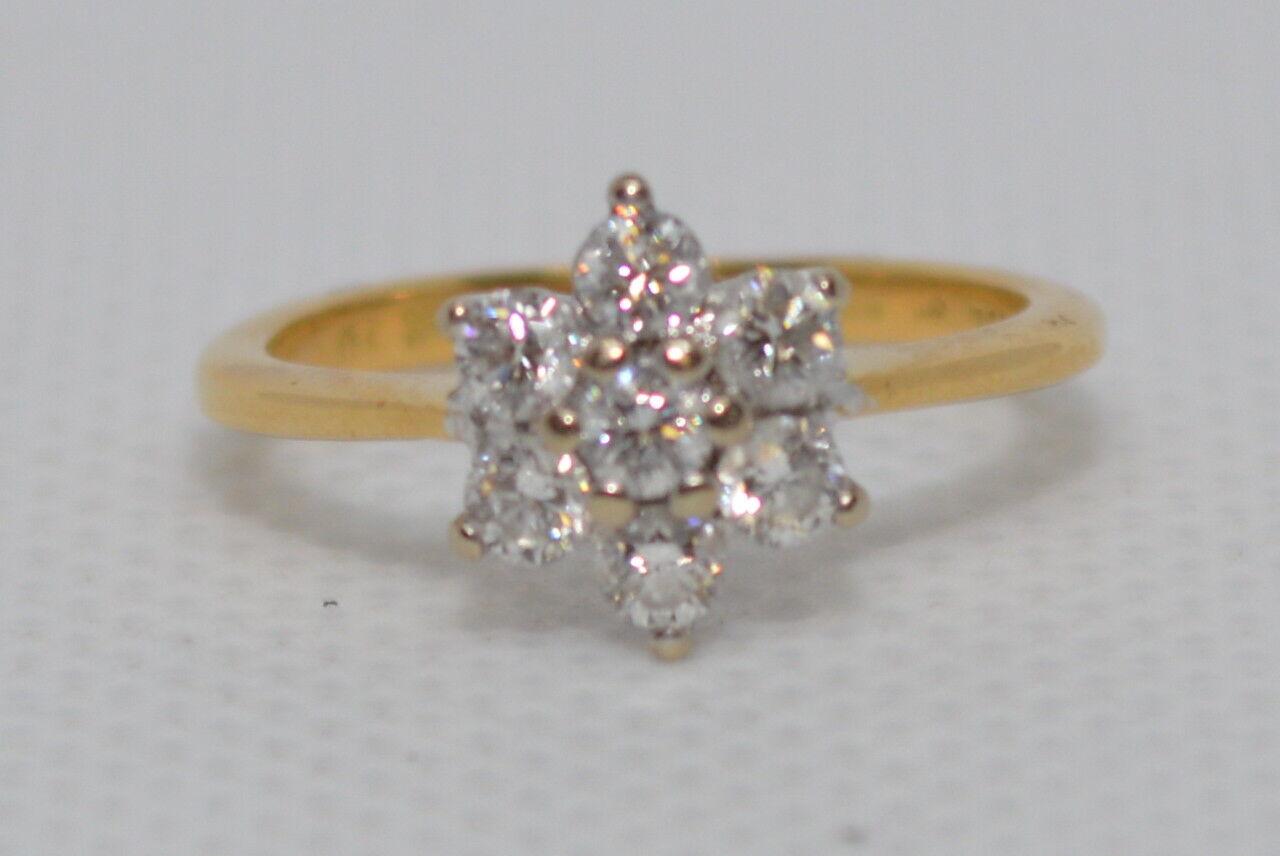 0.42ct Grappolo Diamanti Anello Set in 18ct gold yellow Misura H