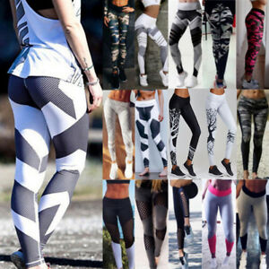 d7ffed9e473bb Image is loading Sexy-Womens-Leggings-Mesh-Splice-Yoga-Sports-Capri-