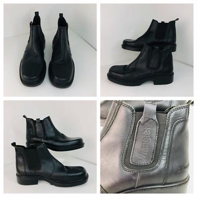 wrangler mens slip on black boots shoe size uk 12 / 46 vgc