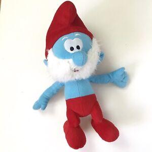 "Nanco Blue Papa Smurf The Smurfs 16"" Plush Stuffed Cartoon Doll Toy Lost Village"