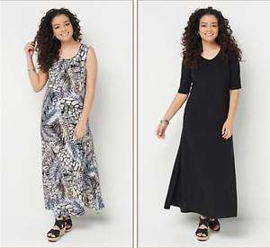 Attitudes-by-Renee-Petite-Set-2-Printed-amp-Solid-Maxi-Dresses-Animal-Black-PL