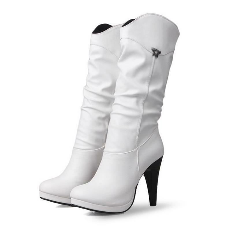 Tacones de mujer fiesta de mujer de impermeable Alto Botas Mitad de Pantorrilla nuevos zapatos de larga señoras Punta Redonda f30bd5