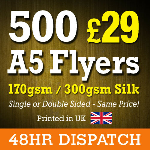 Full Colour Printing 170gsm or 300gsm Silk 500 A5 Printed Flyers