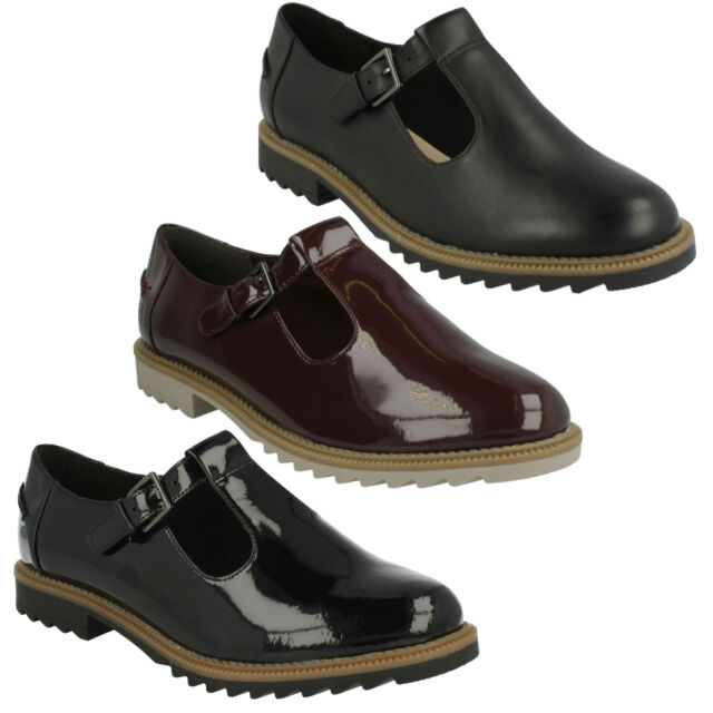 48c6b17addb1 GRIFFIN MONTY LADIES CLARKS T BAR STYLE D FIT PATENT LEATHER BUCKLE CASUAL  SHOES