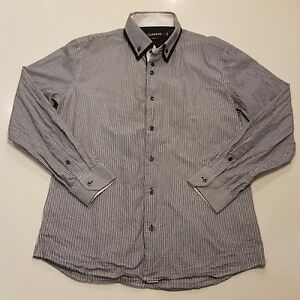 Connor-Mens-Size-Large-Slim-Fit-Button-Front-Shirt-Collared-Blue-White-SC22