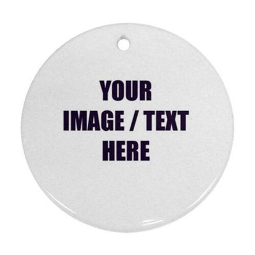 Personalize Christmas Tree Ornaments Custom Text Photo Logo #ROUND PORCELAIN
