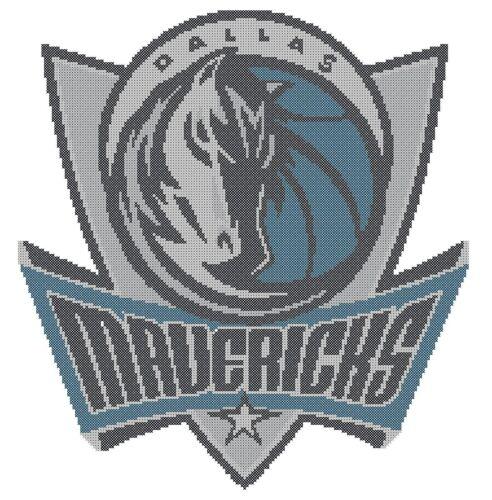 Counted Cross Stitch Pattern Dallas Mavericks Logo Free US Shipping