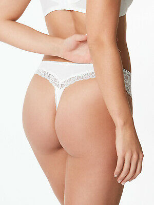 New M/&S WHITE Cotton Blend Side Lace Thong Size 6  10 14