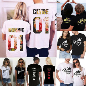 New-Couple-T-Shirt-Floral-Crown-King-Queen-Love-Matching-Summer-Unisex-Tee-Tops