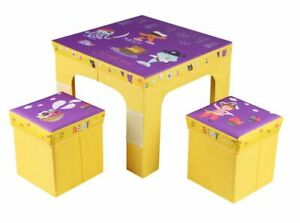 Children S Kids Folding Table And Two Chairs Stool Set Foldable